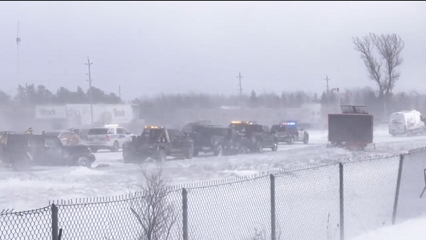 Emergency crews are on the scene of a multi-vehicle pileup that has closed both directions of Highway 400 from Mapleview Drive to Highway 89 (Steve Mansbridge/CTV News)