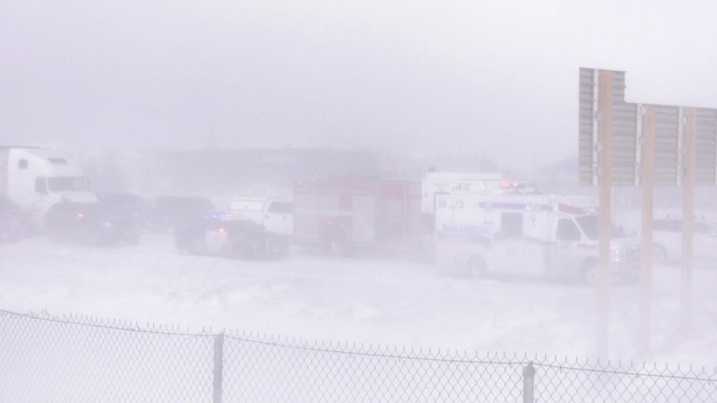 Whiteout conditions and crash aftermath on Hwy 400
