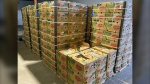 Bananas donated to the Leftovers Foundation in Calgary are shown in this recent handout photo. A Calgary not-for-profit is trying to find creative uses for some of the 340 cases of donated bananas it received at once last week. (THE CANADIAN PRESS/HO - Audra Stevenson)