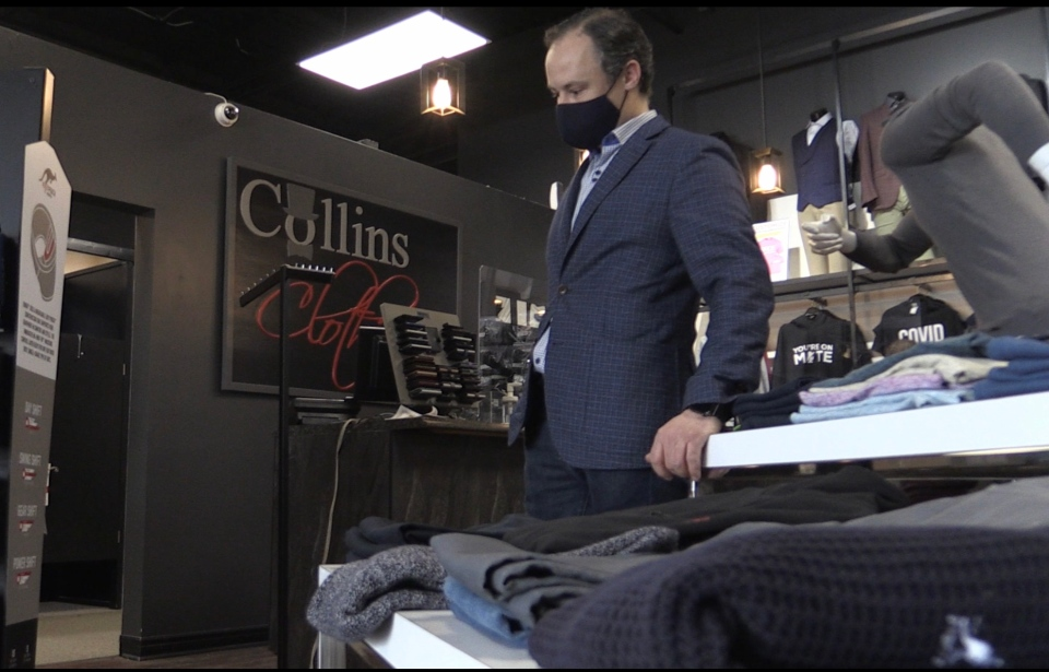 Curt Collins of Collins Clothiers in London, Ont., on March 1, 2021. (Bryan Bicknell/CTV London)