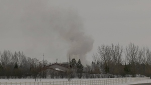 Several fire crews were on scene at a structure fire in Corman Park on Dalmey Road shortly after 1 p.m. Monday. (Chad Leroux/CTV Saskatoon)