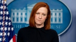 White House press secretary Jen Psaki takes a question from a reporter during a press briefing at the White House, Monday, March 1, 2021, in Washington. (AP Photo/Andrew Harnik)