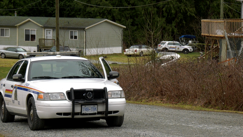 An RCMP cruiser is parked near a home where a child went into medical distress in Harrison Mills, B.C., on Monday, March 1, 2021. (Jordan Jiang / CTV News)