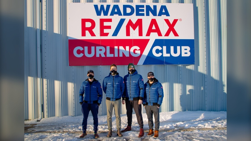Team Dunstone outside of the Wadena Remax Curling Club, where they've been training for the 2021 Brier. (Supplied: Diego Montana)