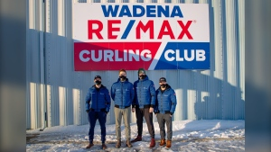 Team Dunstone outside of the Wadena RE/MAX Curling Club, where they've been training for the 2021 Brier. (Supplied: Diego Montana)