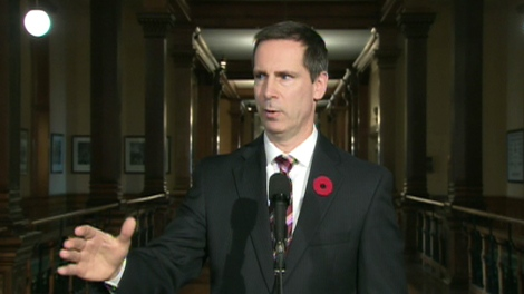 Ontario Premier Dalton McGuinty discusses the H1N1 vaccine in Toronto on Tuesday, Nov. 3, 2009.