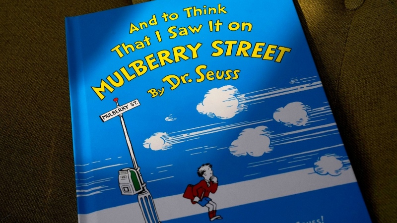 A copy of the book 'And to Think That I Saw It on Mulberry Street,' by Dr. Seuss, on March 1, 2021. (Steven Senne / AP)