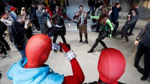 Cosplayers pose for a photo during the Comic Con event in Prague, Czech Republic, on Feb. 8, 2020. (Petr David Josek / AP)