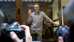 Russian opposition leader Alexei Navalny at Babuskinsky District Court in Moscow, Russia, on Feb. 20, 2021. (Alexander Zemlianichenko / AP)