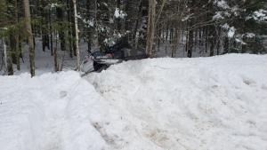 OPP were called to South Shore Road in Bonfield after a snowmobile hit a tree injuring the driver. (Supplied)