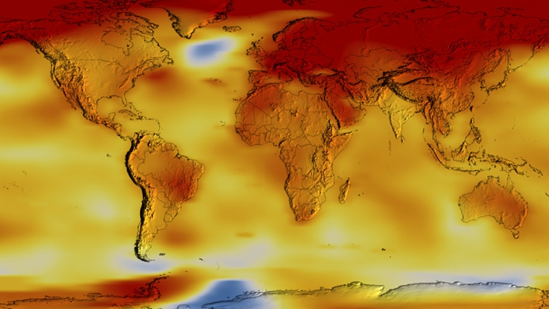 This colour-coded map shows a progression of changing global surface temperature anomalies. Normal temperatures are the average over the 30-year baseline period from 1951 to 1980. (NASA / CNN)