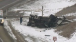 Mounties are investigating a two-vehicle collision near Looma, Alta. on March 2, 2021. (Matt Marshall/CTV News)