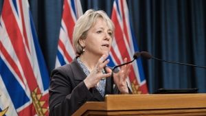 Dr. Bonnie Henry, B.C.'s provincial health officer, announces that more than 400,000 people in British Columbia will be immunized from March to early April as the province moves into Phase 2 of the largest immunization rollout in B.C.'s history, on March 1, 2021. (B.C. government/Flickr)