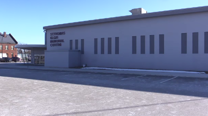 The St. Thomas Elgin Memorial Arena is seen in St. Thomas, Ont. on Tuesday, March 2, 2021. (Brent Lale / CTV News)