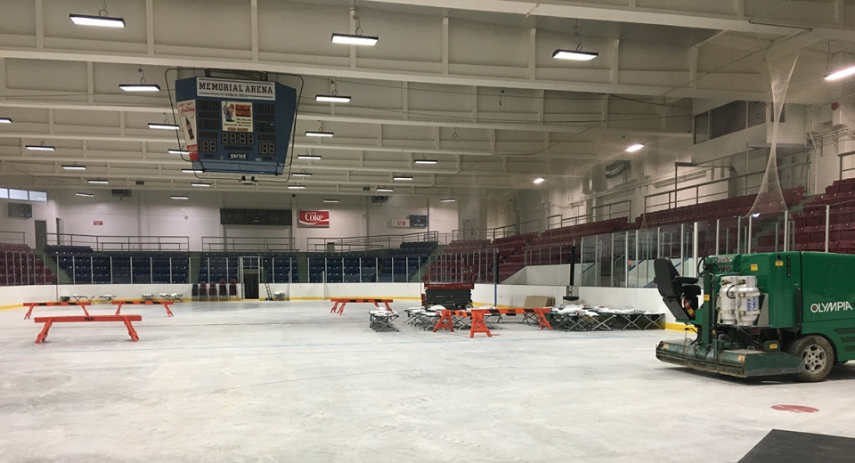 Work is underway inside the St. Thomas Elgin Memorial Arena in St. Thomas, Ont. on Tuesday, March 2, 2021. (Brent Lale / CTV News)