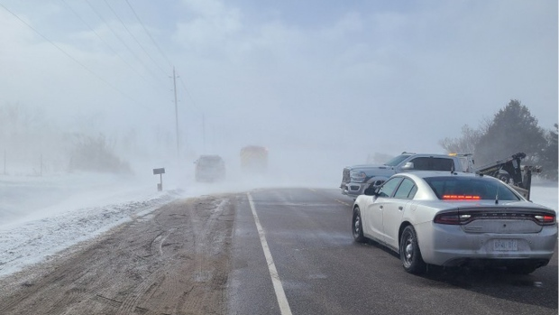 The scene of a fatal three-vehicle collision near Grand Valley is seen here on March 1, 2021. (Source: @OPP_CR)