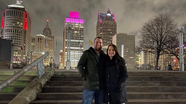 'I started crying': gender reveal party lights up Windsor-Detroit skyline
