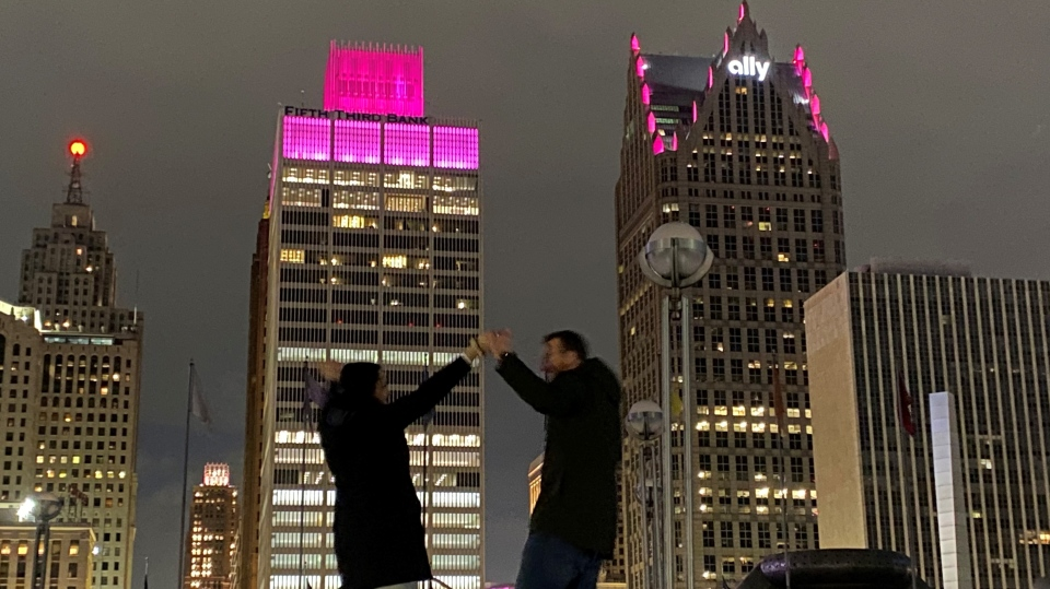 Brett and Alecia Stowell celebrate the gender reveal in Detroit. (Courtesy Brett Stowell)