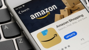 Amazon has quietly changed the design of its new app icon, replacing the blue ribbon on top that drew some unfavorable comparisons. (Shutterstock via CNN)