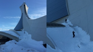 Two snowboarders captured on video snowboarding down the side of the Olympic stadium on Sunday, Feb. 28, 2021. (Photo courtesy: Paul Hugo Baptiste)