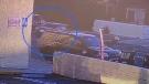 Driver doing doughnuts in L.A. hits pedestrian
