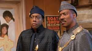 "Arsenio Hall, left, and Eddie Murphy appear in a scene from ""Coming 2 America."" (Quantrell D. Colbert/Paramount Pictures via AP)"