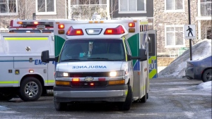 A three-year-old girl was rushed to hospital after falling from a third-storey window in Skyview Ranch.