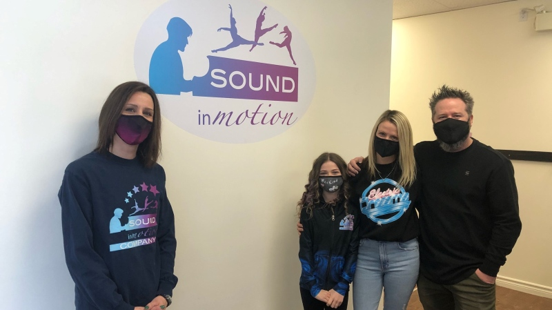 Sound In Motion's Julie Mytka, Brea Benns, Natasha Benns and Greg Benns in London, Ont. on Tuesday, March 2, 2021. (Jordyn Read/CTV London)