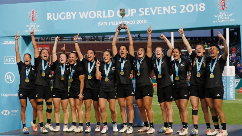 New Zealand players celebrate after beating France in the Women's Rugby Sevens World Cup final in San Francisco, Saturday, July 21, 2018. (AP Photo/Jeff Chiu)
