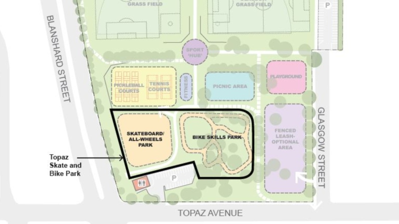 The location of the upcoming skate and bike park is shown: March 2, 2021 (City of Victoria)