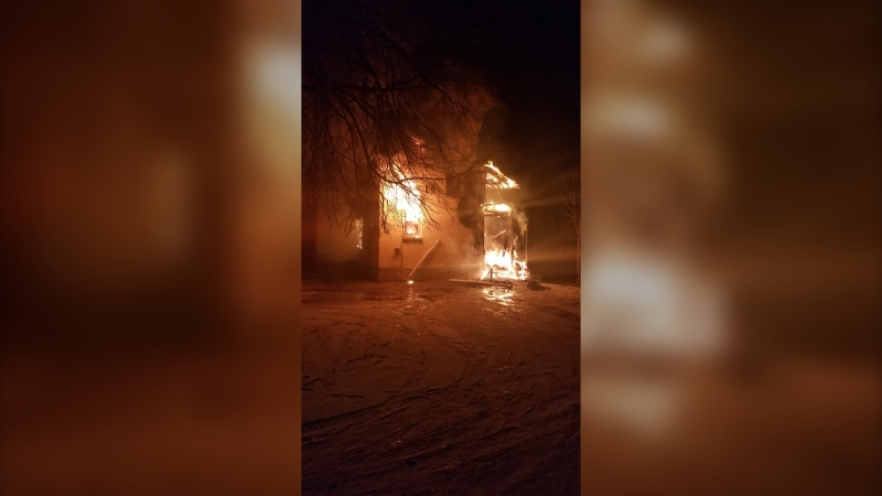 Supplied image of the fire in Portage la Prairie,