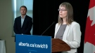 Alberta Health Minister Tyler Shandro and Chief Medical Officer of Health Dr. Deena Hinshaw. (Government of Alberta)