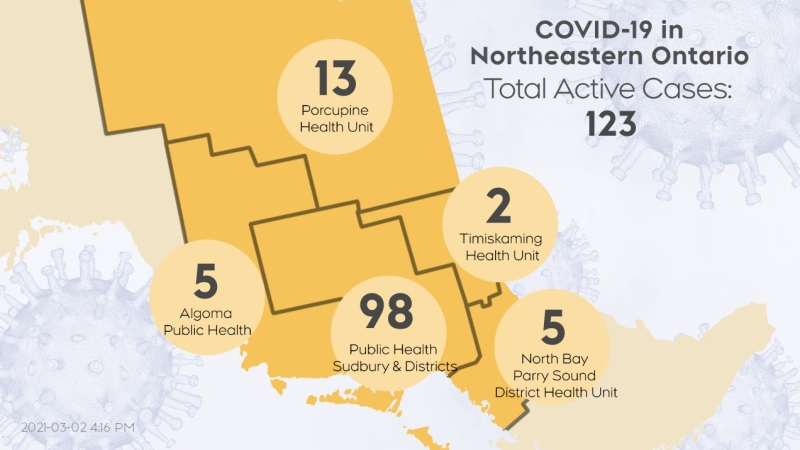 The number of active COVID-19 cases in northeastern Ontario as of March 2/21 at 4 p.m. is 123. (CTV Northern Ontario)