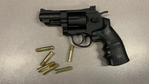 A photo from the New Westminster Police Department shows a BB gun officers say was seized from a man in the ER at Royal Columbian Hospital.