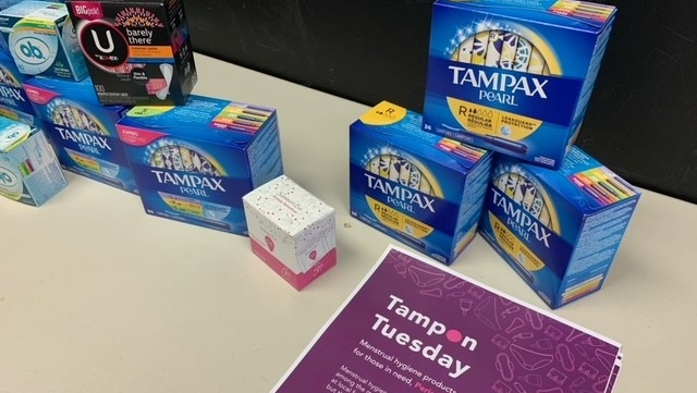 Menstrual products on display for the United Way of Kingston, Frontenac, Lennox & Addington's second annual Tampon Tuesday donation drive. (Kimberley Johnson / CTV News Ottawa)