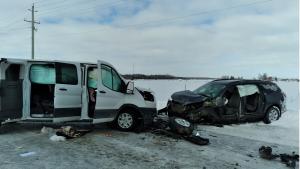 Head-on crash near Listowel, Ont. on March 2, 2021. (OPP)