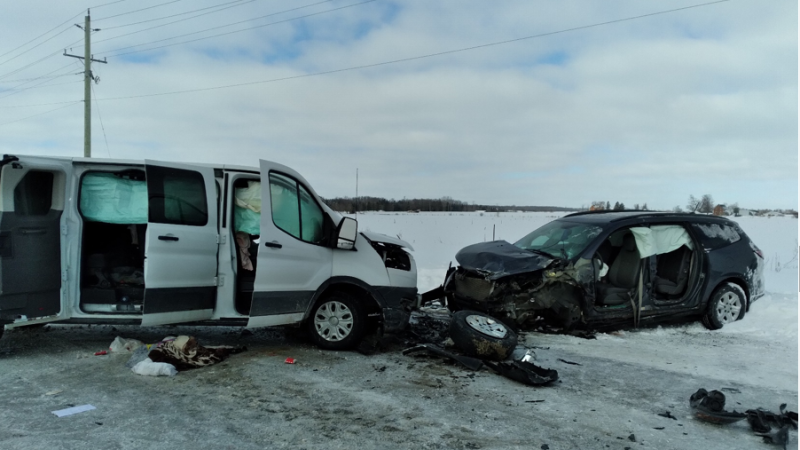 Head-on crash near Listowel, Ont. on March 2, 2021. (OPP)