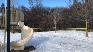 Police are investigating after a body was found at a Kitchener park (Dan Lauckner / CTV News Kitchener)