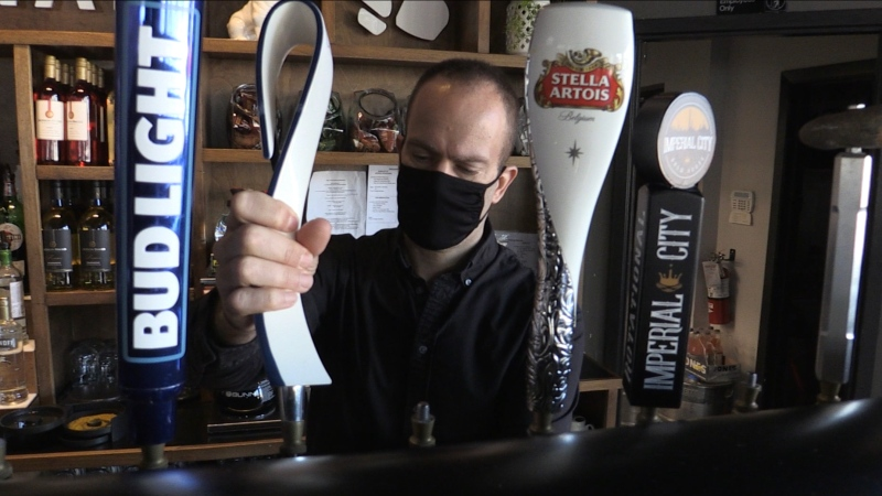 Jason Winter of Bad Dog Restaurant in Sarnia, Ont. on March 2, 2021. (Bryan Bicknell/CTV London)