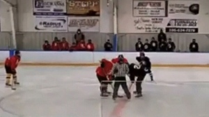 Video appears to show hockey team breaking rules