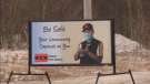 A billboard on Piapot First Nation reminds residents to wear a mask and wash their hands. (Wayne Mantyka/CTV Regina)