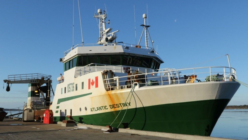 There is a crew of 31 aboard the Atlantic Destiny, a 43-metre commercial fishing vessell out of Riverport, N.S., that caught fire and took on water late Tuesday evening on Georges Bank. (TRANSPORTATION SAFETY BOARD OF CANADA)