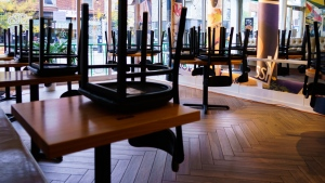 Chairs are stored at a pizza restaurant in Montreal, on Wednesday, September 30, 2020. THE CANADIAN PRESS/Paul Chiasson