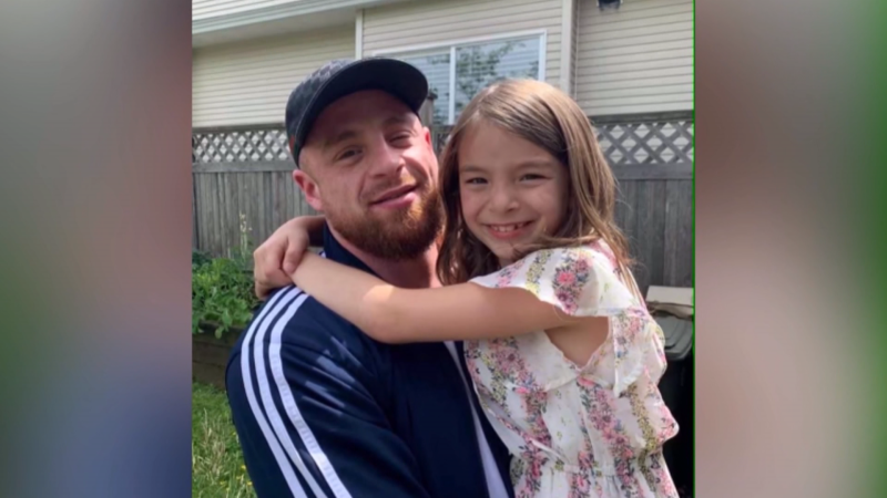 Annie Storey's son Alex is seen with his young daughter. He was one of 165 people who died of a drug overdose in B.C. in January 2021.