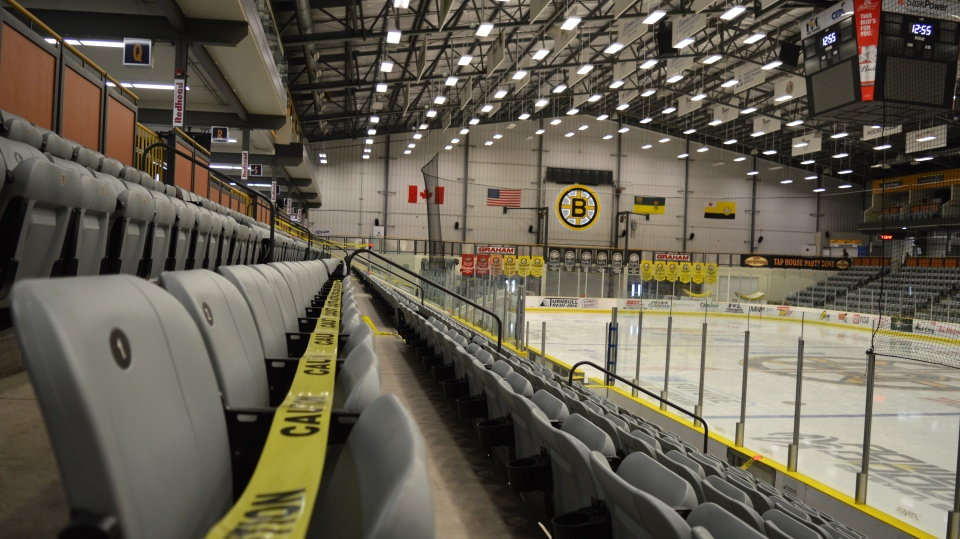 Seats at Estevan's Affinity Place remain taped off as COVID-19 restrictions limit sports competition across Saskatchewan. (Brendan Ellis/CTV News)