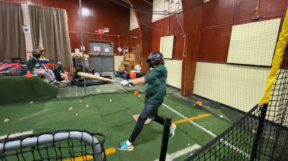 The facility is equipped with a batting cage, turf floor and multiple pitching mounds. Ottawa, Ont. Mar. 1, 2020. (Tyler Fleming / CTV News Ottawa)