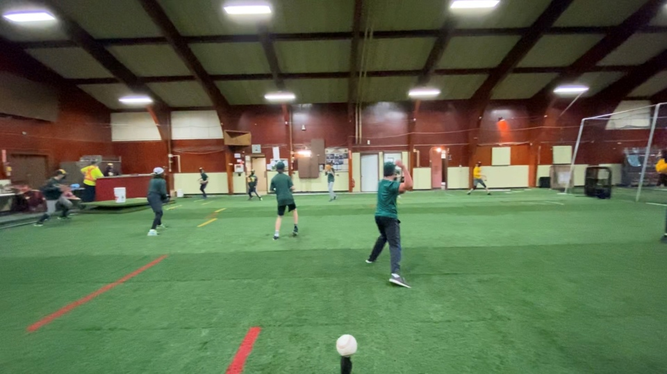 The St. Anthony Angels baseball team trains for the coming season at a converted Royal Canadian Legion which has been closed due to COVID-19. Ottawa, On. Mar. 1, 2020. (Tyler Fleming / CTV News Ottawa)