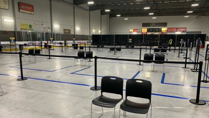 A look inside the COVID-19 vaccination clinic at the WFCU Centre in Windsor, Ont., on Wednesday, March 3, 2021. (Bob Bellacicco / CTV Windsor)