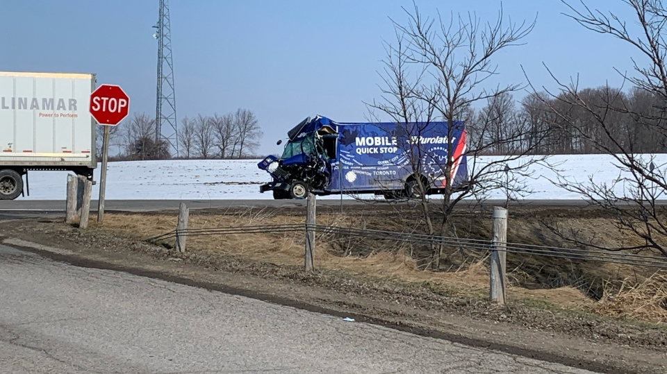 A vehicle at the scene of a crash on Hwy. 7 between Kitchener and Guelph. (Krista Sharpe/CTV Kitchener) (March 3, 2021)