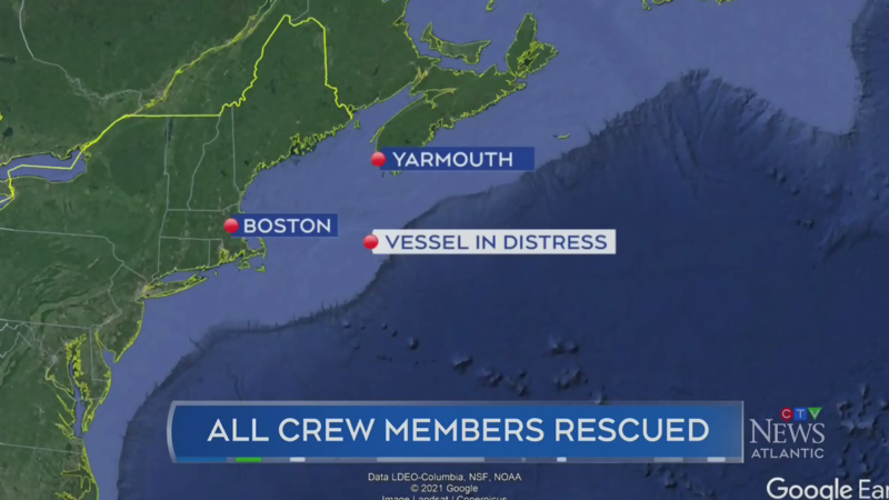 Crew rescued from vessel that caught fire